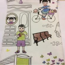 Хлопковая ткань с ярким принтом для девочки Kids A Unico 09. Испания, Европа, портьерная ткань. На белом фоне цветные человечки