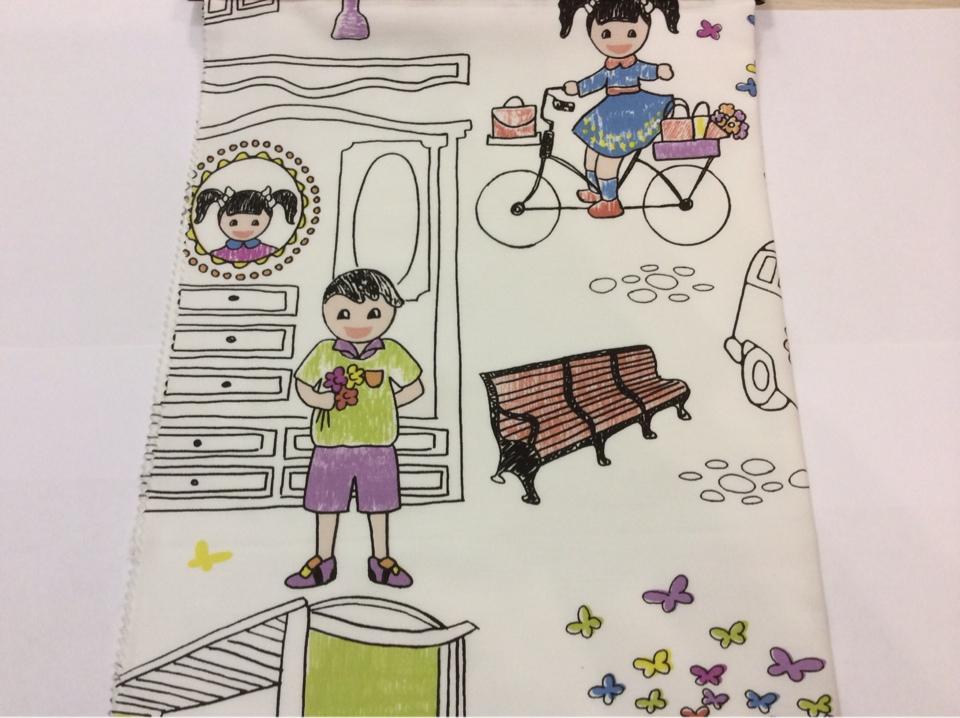 Хлопковая ткань с ярким принтом для девочки Kids A Unico 09. Испания, Европа, портьерная ткань. На белом фоне цветные человечки заказать, купить с доставкой