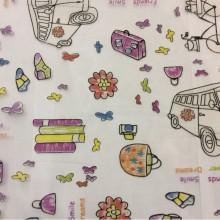 Органза с вискозной нитью, ткань для детской комнаты Kids Devore Unico 09. Европа, Испания, тонкий тюль. На прозрачном фоне мелкие цветные игрушки