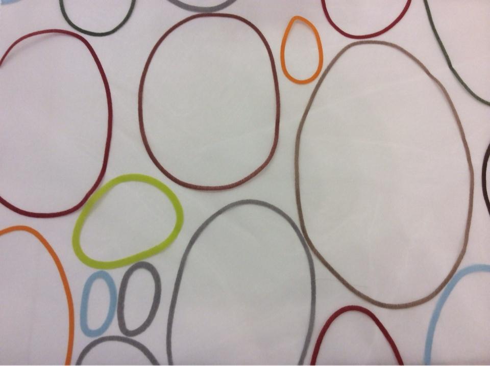 Органза с вискозной нитью и ярким принтом, на прозрачном фоне цветные овалы Os, col 31. Испания, Европа, тюль посмотреть в каталоге ткани