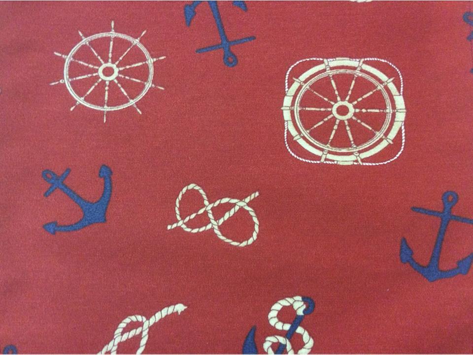 Тефлоновая ткань с хлопковой нитью Timones, col 15. Испания, Европа, портьерная. Морская тематика с якорями и штурвалами корабля