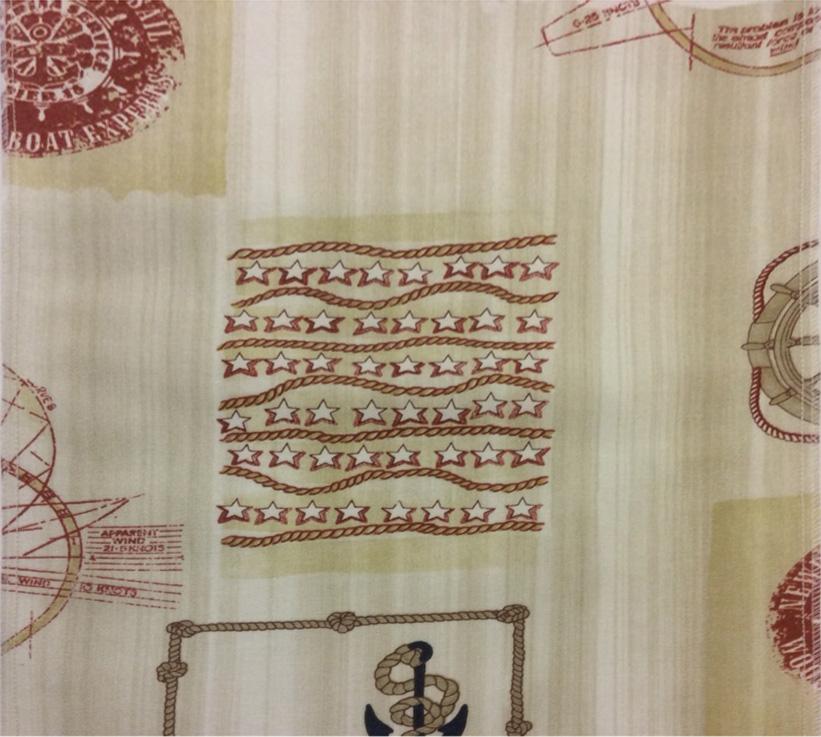 Тефлоновая ткань с хлопковой нитью морской тематики Verne, col 15. Испания, Европа, портьерная ткань для штор каталог