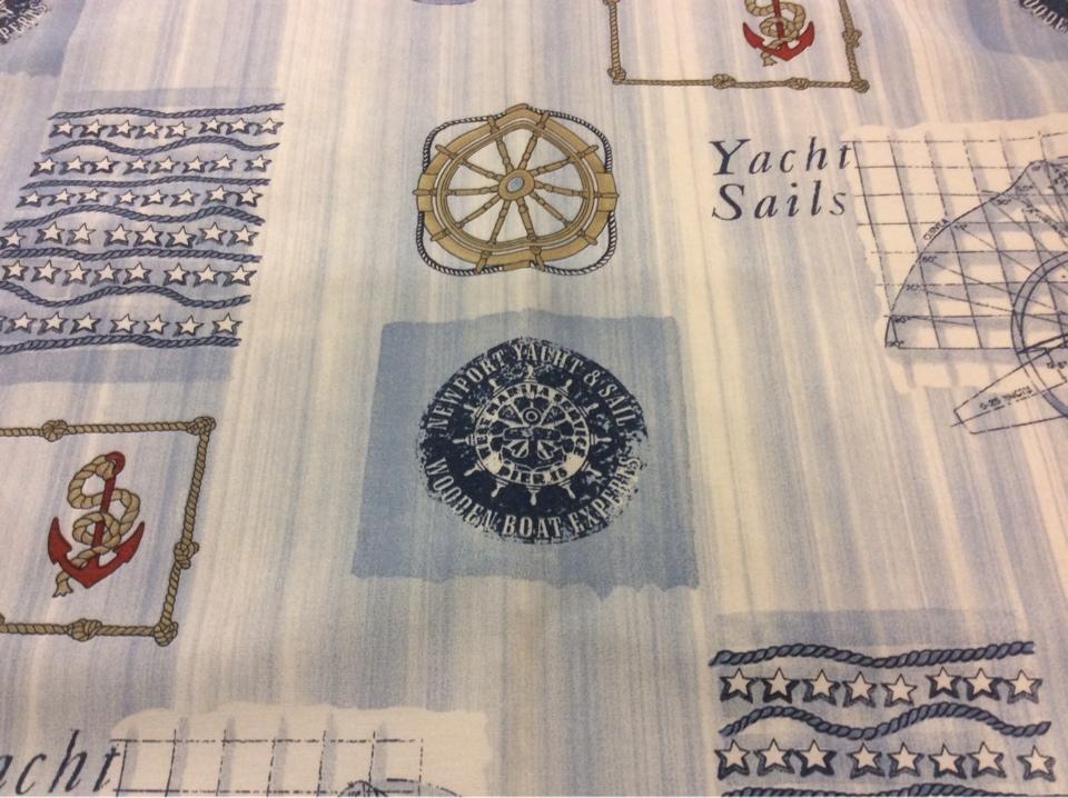 Ткань для штор с якорями и штурвалом Verne, col 65. Испания, Европа, портьерная. Морская тематика каталог интернет-магазина