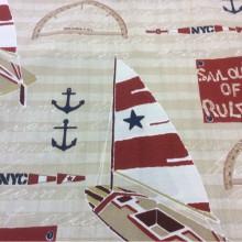 Ткань для штор с яхтами и якорями Nautilus, col 15. Европа, Испания, портьерная. Морская тематика