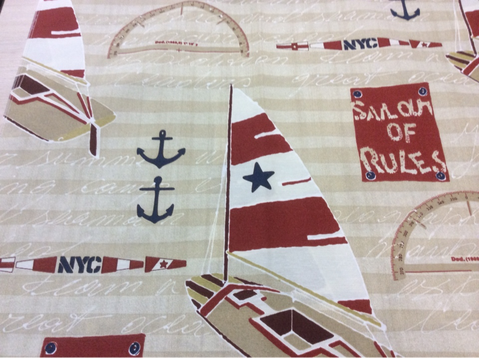 Ткань для штор с яхтами и якорями Nautilus, col 15. Европа, Испания, портьерная. Морская тематика купить ткань в Москве