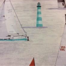 Ткань для штор с парусниками Positano, col 31. Европа, Испания, портьерная. Морская тематика — яхты