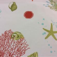 Ткань с хлопковой нитью с подводными обитателями Napoli, col 31. Испания, Европа, портьерная. Изображение морского дна