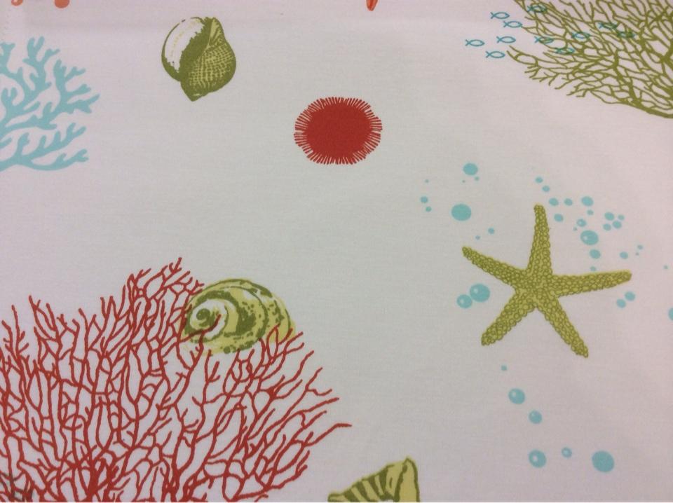 Ткань с хлопковой нитью с подводными обитателями Napoli, col 31. Испания, Европа, портьерная. Изображение морского дна заказать в интернете