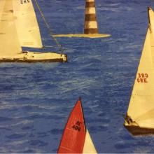 Красивая, яркая ткань с яхтами Positano, col 61. Испания, Европа, портьерная. Морская тематика