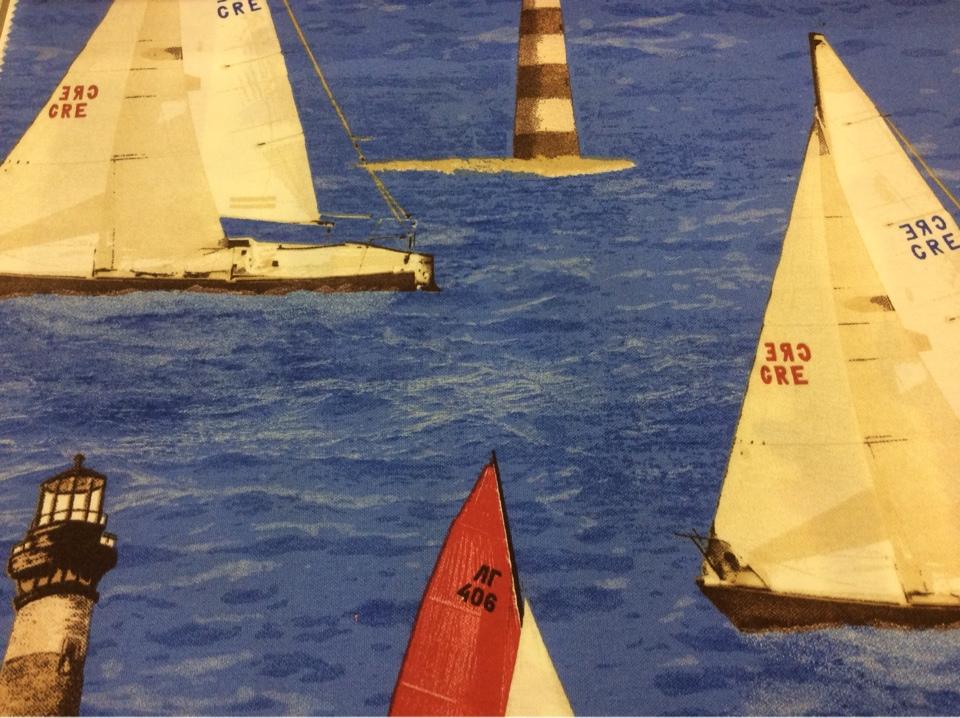 Красивая, яркая ткань с яхтами Positano, col 61. Испания, Европа, портьерная. Морская тематика в каталоге тканей