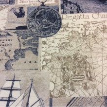 Ткань с старинными картами и компасом Clipper, col 03. Испания, Европа, портьерная. Морская тематика