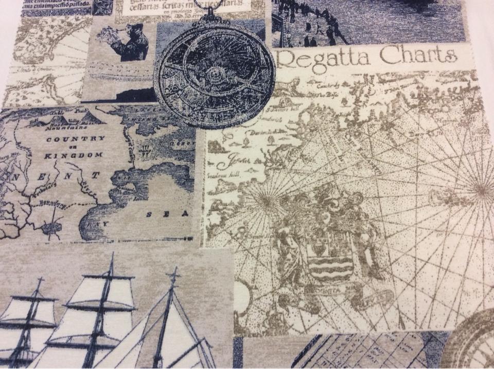 Ткань с старинными картами и компасом Clipper, col 03. Испания, Европа, портьерная. Морская тематика  купить в Москве