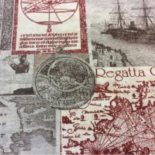 Ткань для юных открывателей и путешественников с картами Clipper, col 04. Испания, Европа, портьерная. Морская тематика