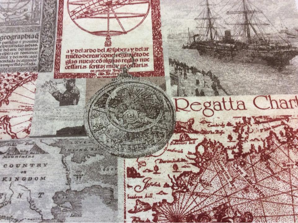 Ткань для юных открывателей и путешественников с картами Clipper, col 04. Испания, Европа, портьерная. Морская тематика купить