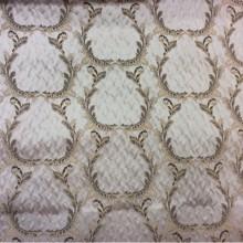 Портьерная ткань из Италии в стиле барокко Gretta 011. Италия, Европа, портьерная. Светло-серый фон, бронзовый орнамент