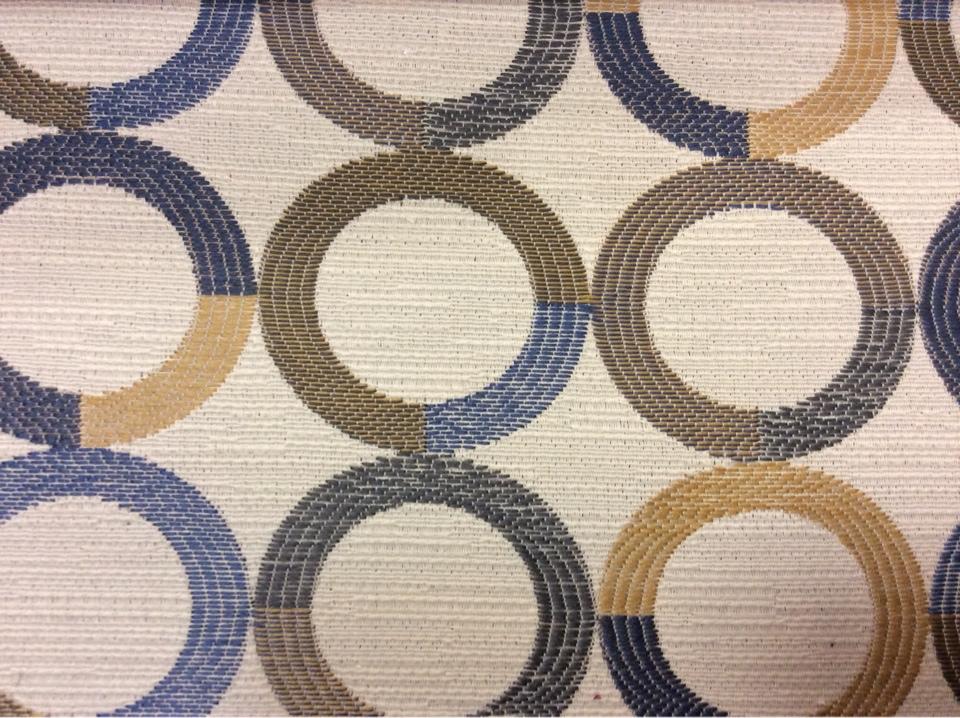 Модная ткань в стиле модерн Paloma 17. Испания, Европа, портьерная. Круги синего, бежевого, зелёного оттенков купить в Москве
