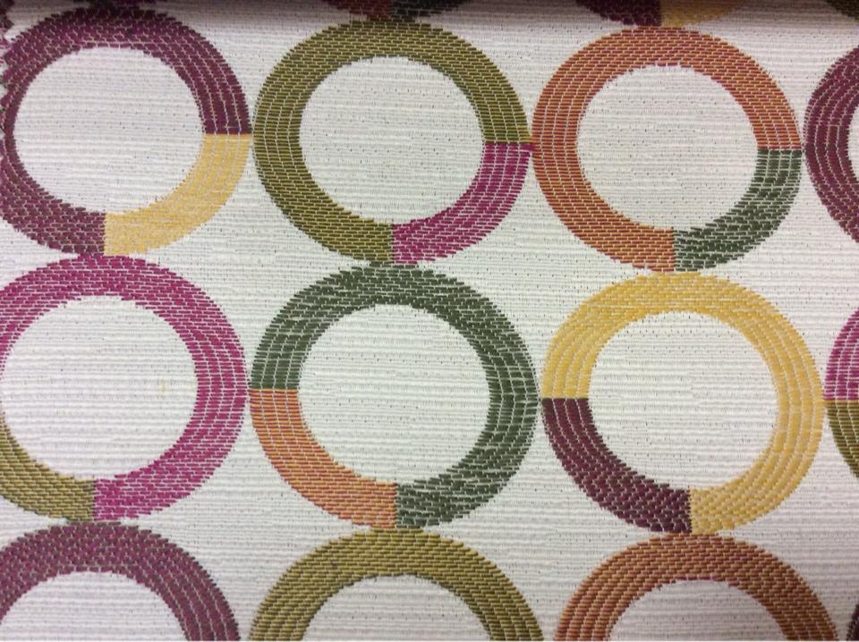 Ткань для штор с геометрическим рисунком Paloma 24. Испания, Европа, портьерная. Круги малинового, зелёного, жёлтого оттенков купить с карты