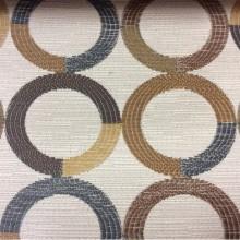 Модная ткань для штор Paloma 31. Испания, Европа, портьерная, плотная ткань. Круги коричневого, бежевого, синего оттенков