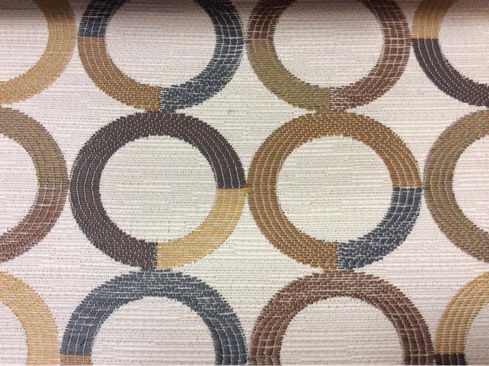 Модная ткань для штор Paloma 31. Испания, Европа, портьерная, плотная ткань. Круги коричневого, бежевого, синего оттенков купить Москва