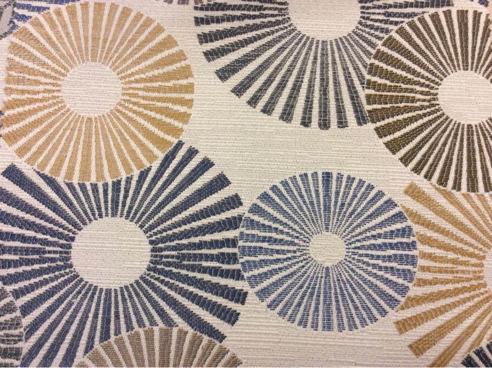 Необычная портьерная ткань для штор в стиле модерн с абстракцией Paloma 18. Европа, Испания, портьерная. Абстрактные круги, цвет ткани - микс купить в Москве