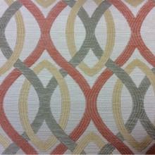 Портьерная ткань для штор в стиле модерн Paloma 09. Испания, Европа, портьерная. Абстрактные линии красного, бежевого, зелёного оттенков
