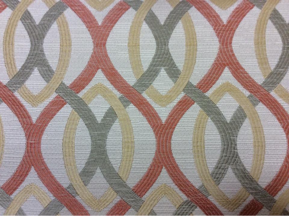 Портьерная ткань для штор в стиле модерн Paloma 09. Испания, Европа, портьерная. Абстрактные линии красного, бежевого, зелёного оттенков купить в Москве