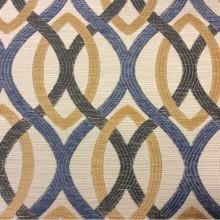 Ткань для штор с абстрактным рисунком Paloma 16. Европа, Испания, портьерная ткань. Абстрактные линии синего, бежевого, зеленоватого оттенков