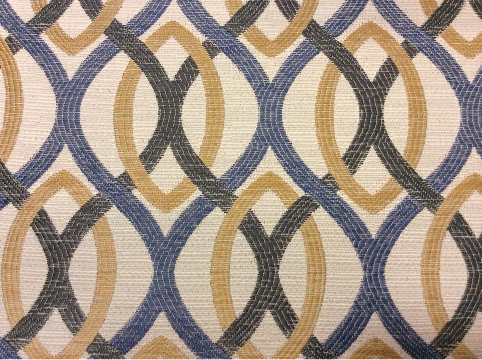 Ткань для штор с абстрактным рисунком Paloma 16. Европа, Испания, портьерная ткань. Абстрактные линии синего, бежевого, зеленоватого оттенков купить