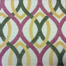 Ткань под рогожку с хлопковой нитью, абстракция в стиле модерн Paloma 23. Европа, Испания, портьерная ткань. Абстрактные линии малинового, бежевого, зелёного оттенков
