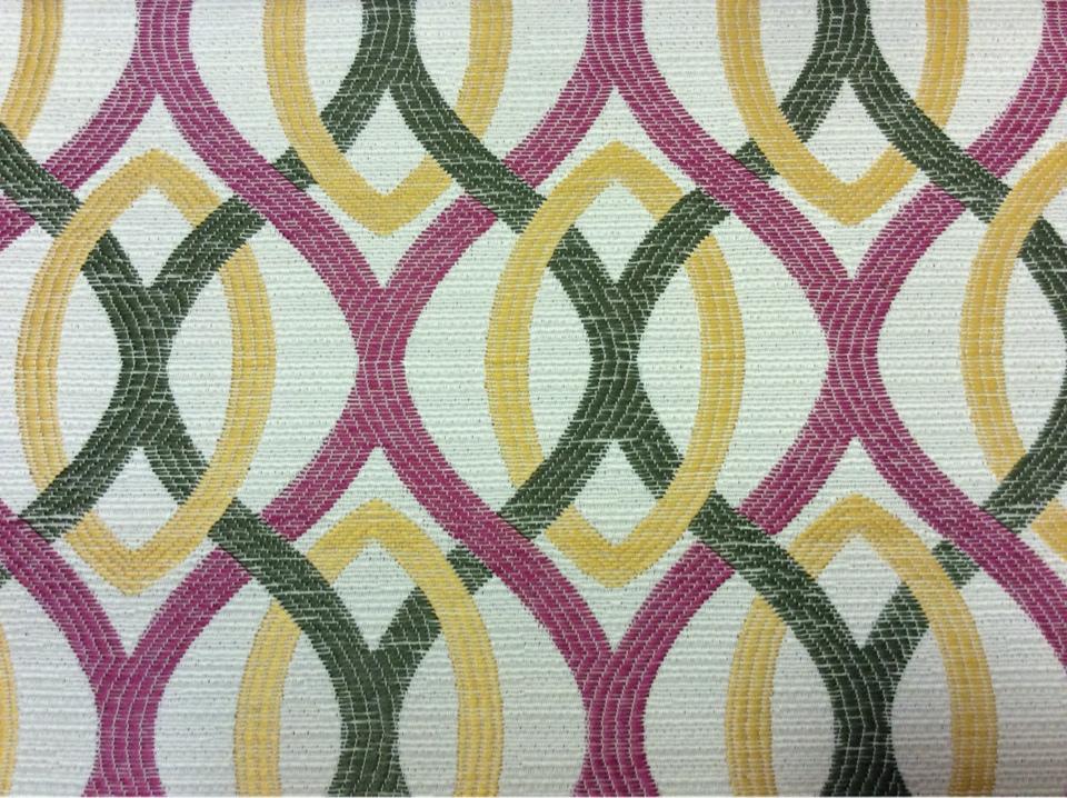 Ткань под рогожку с хлопковой нитью, абстракция в стиле модерн Paloma 23. Европа, Испания, портьерная ткань. Абстрактные линии малинового, бежевого, зелёного оттенков купить
