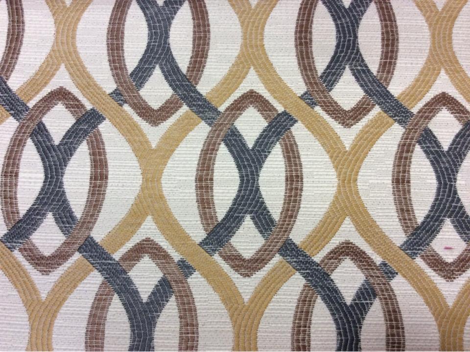 Ткань с абстрактными линиями под рогожку с хлопком Paloma 30. Испания, Европа, плотная портьерная ткань для штор в стиле модерн. Абстрактные линии коричневого, бежевого, синего оттенков купить