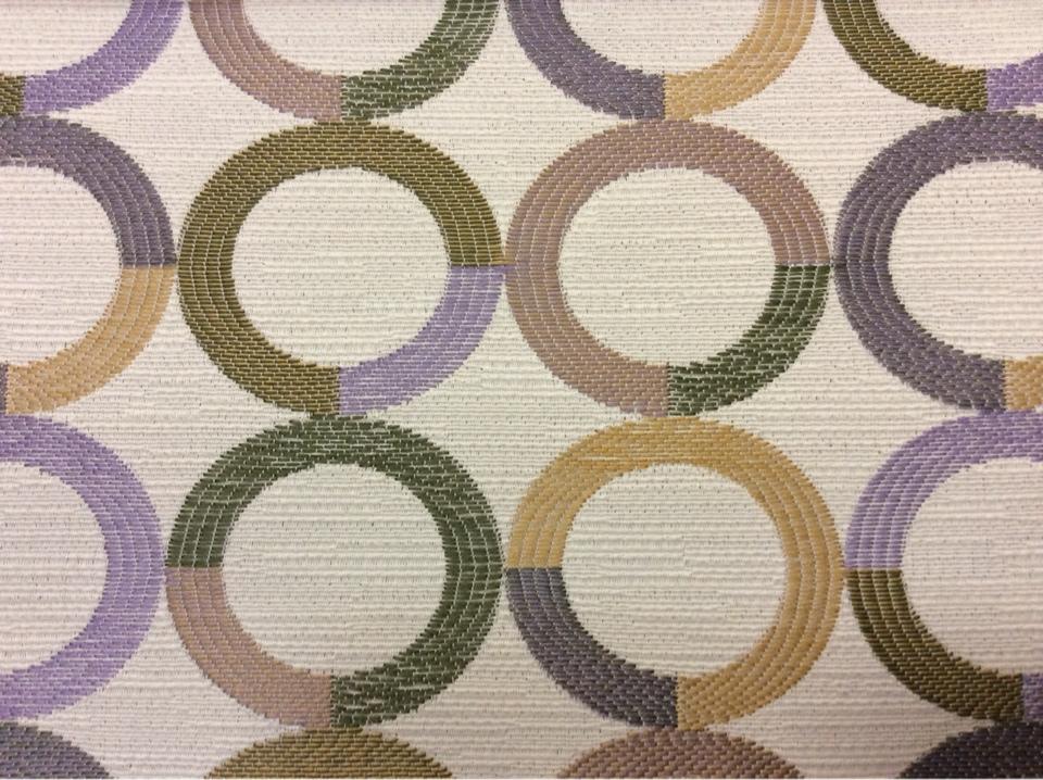 Ткань под рогожку с хлопковой нитью Paloma 03. Испания, Европа, портьерная ткань для штор. Круги фиолетового, зелёного, бежевого оттенков купить