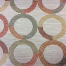 Испанская ткань для штор Paloma 10. Европа, Испания, портьерная. Круги красного, бежевого, зелёного оттенков