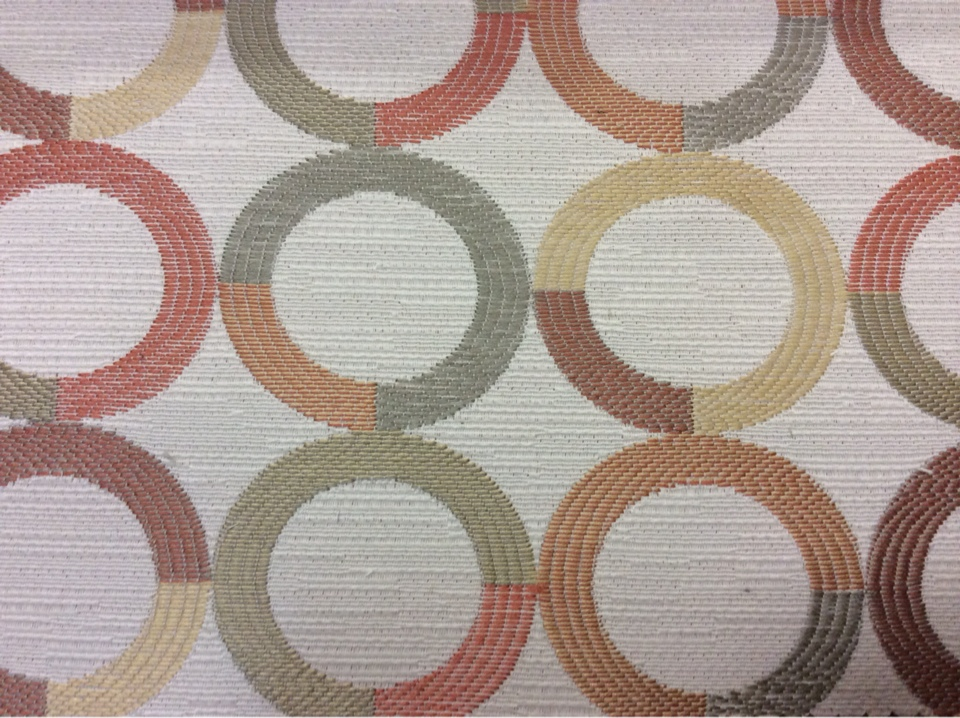 Испанская ткань для штор Paloma 10. Европа, Испания, портьерная. Круги красного, бежевого, зелёного оттенков в магазине купить