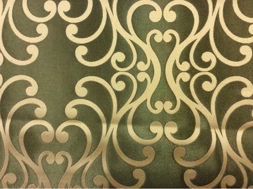 Купить хлопковую ткань в Москве Elizabeth col. 22. Испания, Европа, портьерная. Зелёный фон, кремовый принт купить