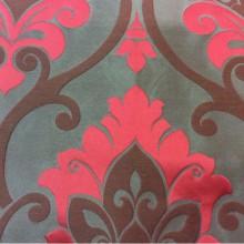 Купить льняную ткань для штор в классическом стиле Messaline col. 13. Испания, Европа, портьерная. Шоколадный фон, красно-малиновый принт «дамаск»