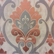 Купить льняную ткань в Москве Messaline col. 17. Испания, Европа, портьерная. Светло-коричневый фон, терракотовый принт «дамаск»