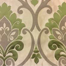 Портьерная ткань из льна Messaline col. 09. Испания, Европа, портьерная ткань для штор. Бежевый фон, зелёный принт «дамаск»