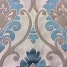 Элитная льняная ткань в классическом стиле Messaline col. 11. Испания, Европа, портьерная. Серебристый фон, бирюзовый принт «дамаск»