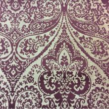Испанская ткань для штор из хлопка и атласа в Москве Lucido col. 35. Испания, Европа, портьерная. Золотистый фон, бордовый принт «дамаск», «пейсли»
