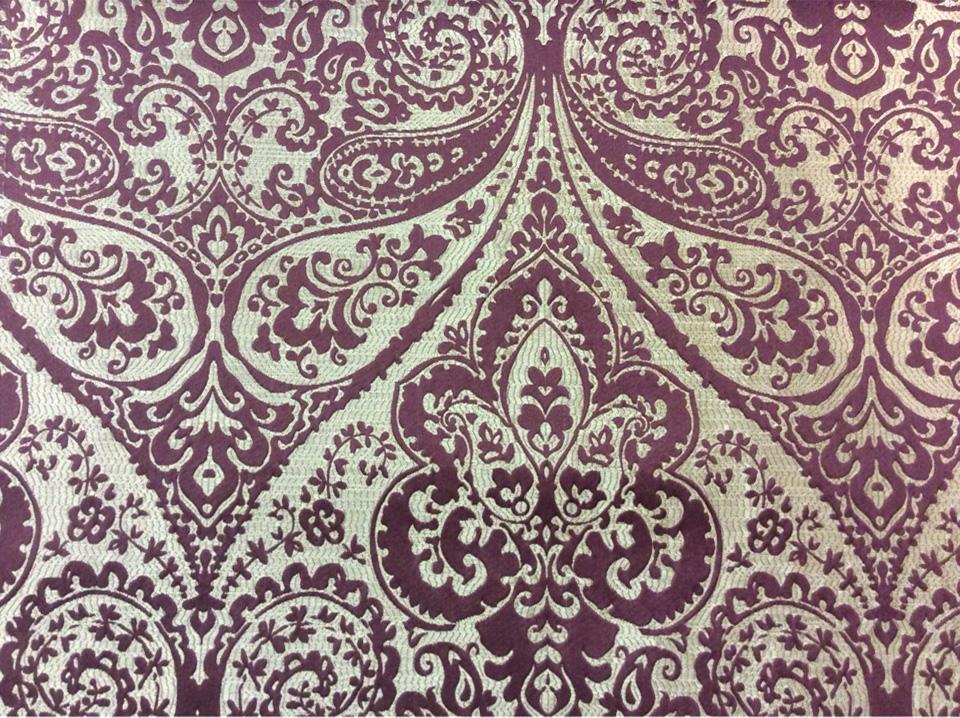 """Испанская ткань для штор из хлопка и атласа в Москве Lucido col. 35. Испания, Европа, портьерная. Золотистый фон, бордовый принт """"дамаск"""", """"пейсли"""" заказать в наличии имеется"""