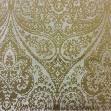 Ткань для штор в стиле пейсли в Москве Lucido col. 36. Европа, Испания, портьерная. Золотистый фон, горчичный принт «дамаск», «пейсли»