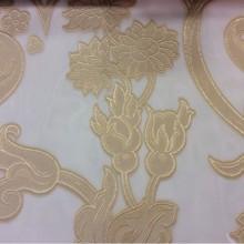 Купить красивую тюль с растительным принтом Fausta 19. Италия, Европа, тюль. Органза с нанесением растительного атласного принта золотистого оттенка