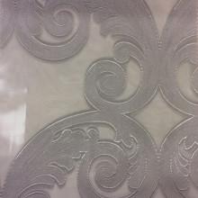 Купить красивую тюль в стиле ампир в интернет-магазине Fausta 26. Италия, Европа, тюль. Органза с нанесением атласного принта «завитки» серебристого оттенка