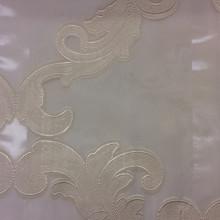 Тюль из органзы  с нанесением атласного принта «завитки» кремового оттенка Fausta 34. Италия, Европа, тюлевая ткань для штор