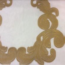 Органза с нанесением атласного принта «завитки» бронзового оттенка Fausta 31. Италия, Европа, тюль