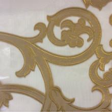 Элитный, красивый тюль в Москве под заказ в магазине Fausta 40. Италия, Европа, тюль. Органза с нанесением растительного атласного принта бронзового оттенка