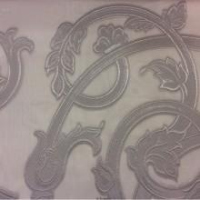 Купить итальянскую тюль в интернете Fausta 37. Европа, Италия, тюлевая ткань для штор. Органза с нанесением атласного растительного принта серебристого оттенка