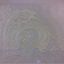 Ткань органза с нанесением атласного принта кремового оттенка Fausta 48. Италия, Европа, тюль.