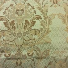 Натуральная итальянская ткань Gloria 050. Италия, Европа, портьерная. Оливковый фон, бронзовый орнамент «дамаск»